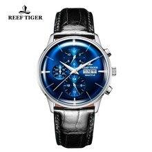 Reef Tiger/RT роскошные часы для мужчин ролями автоматический синий циферблат двойной календарь Бизнес платье кожаный ремешок RGA1699