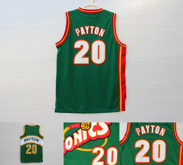 be6be867 Gary Payton classical retro basketball jerseys,#20 Payton knitted mesh  green color basketball jerseys