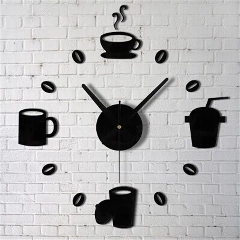 2017 Coffee Cups Kitchen Wall Art Mirror Clock Modern Design Home Decoration Decor Wall Sticker For Living Room Wholesale M913