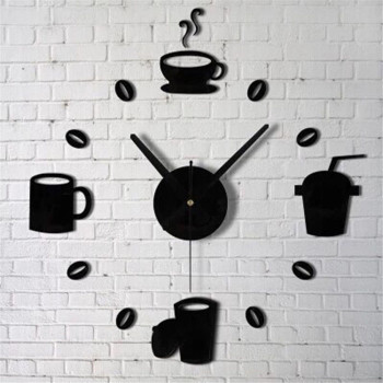 Coffee Cups Kitchen Wall Art Mirror Clock Modern Design-Free Shipping For Kitchen Clock Wall Stickers Living Room mirror wall stickers