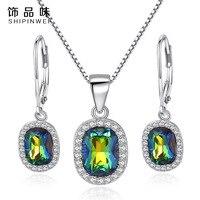 Shipinwei Luxo 925 Sterling Silver Square Cut Rainbow Colorido Strass Colar Pingente Brincos Conjuntos de Jóias CZ para As Mulheres
