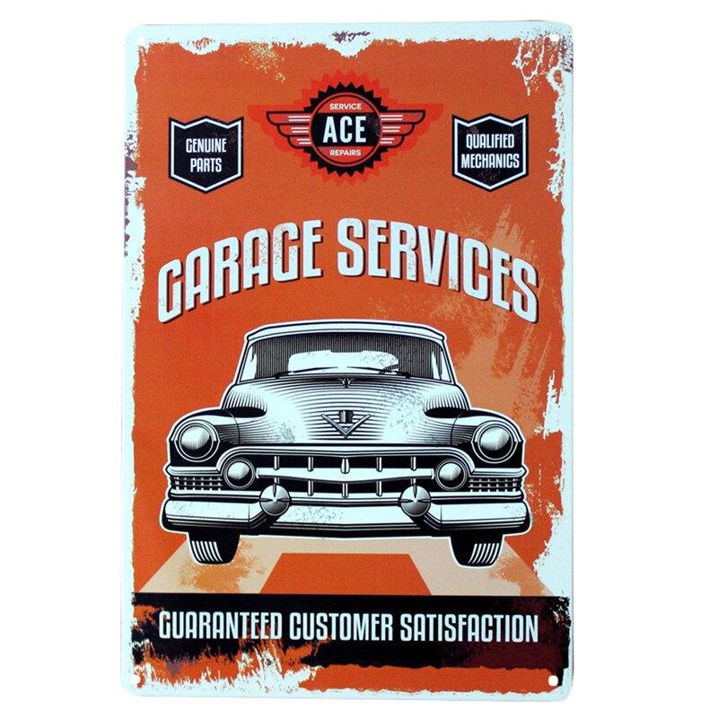 ACE GARAGE SERVICES LARGE METAL TIN SIGN POSTER VINTAGE STYLE OL WORKSHOP DECOR