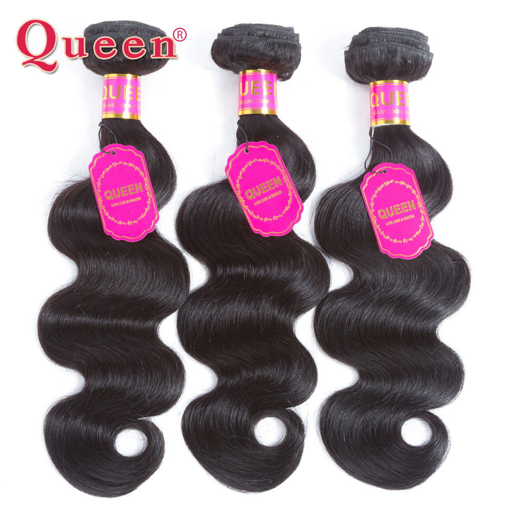 Queen Hair Malaysian Hair Bundles 3 Bundles Body Wave Human Hair Natural Color Non-Remy Human Hair Weave Extensions