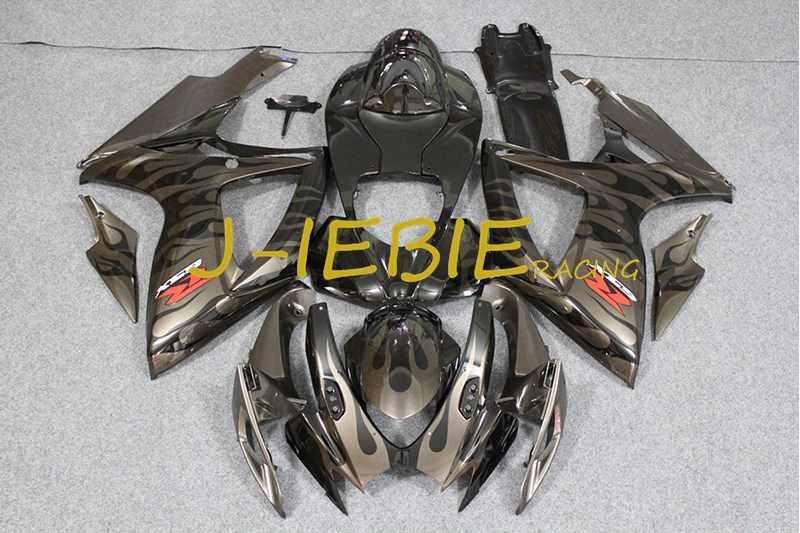 Black gray fire Injection Fairing Body Work Frame Kit for SUZUKI GSXR 600/750 GSXR600 GSXR750 2006 2007