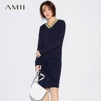 Amii Casual Women Dress 2017 Stripes V Neck Knee High Long Sleeve