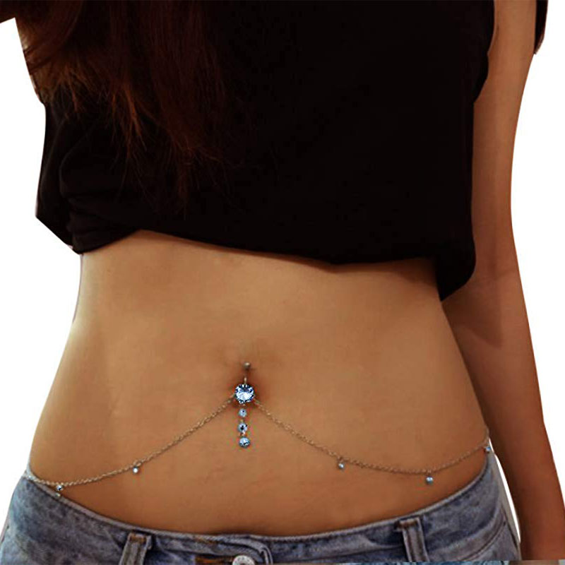 HTB1I9lZbkL0gK0jSZFAq6AA9pXaB Blue Zircon Pendant Sexy Rhinestone Dangle Belly Button Chain