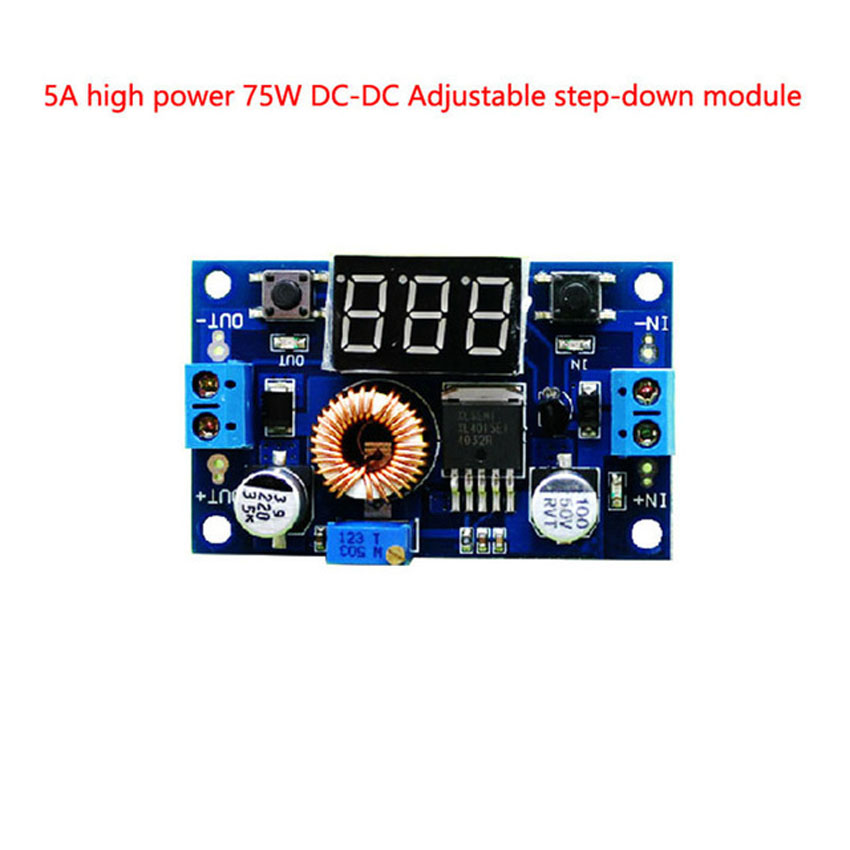 5A High Power 75W DC-DC Adjustable step-down Voltage stabilized power supply module With voltage meter display surpass LM2596