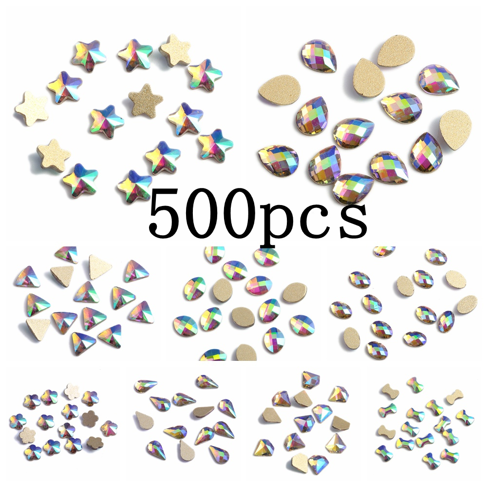 Nail Gems 500pcs Green Rainbow Glass Rhinestone For Nail Art Decorations Flatback Nail Stickers DIY Craft Art Charm Stones купить