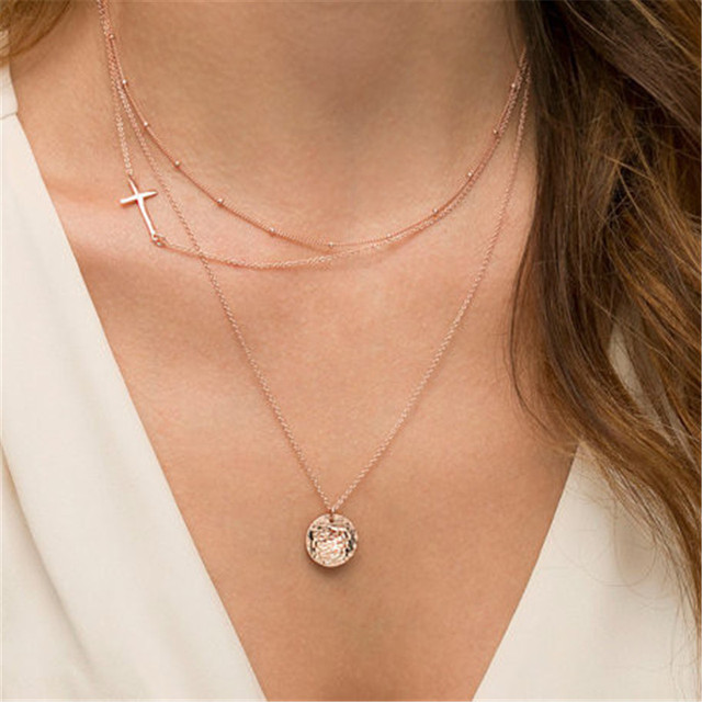 Fashion Sideway Cross Layered Necklaces Set Dainty Gold