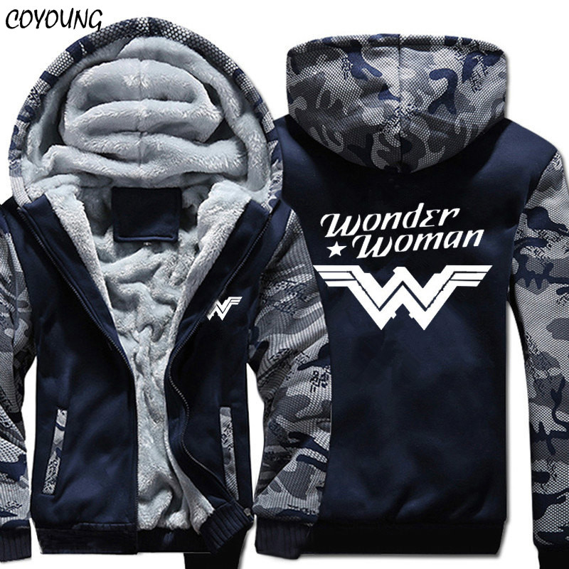 COYOUNG Brand US Size 5XL Hoodies Wonder Woman Unisex Cosplay Sweatshirts Hoody Thicken Camouflage Jacket Zipper Coat