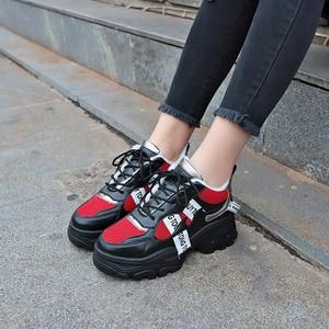 Image 2 - Lucyever 2019 nowa wiosna kobiety obuwie damskie trwała platforma zasznurować futro obuwie studenckie buty szkolne Zapotos Mujer