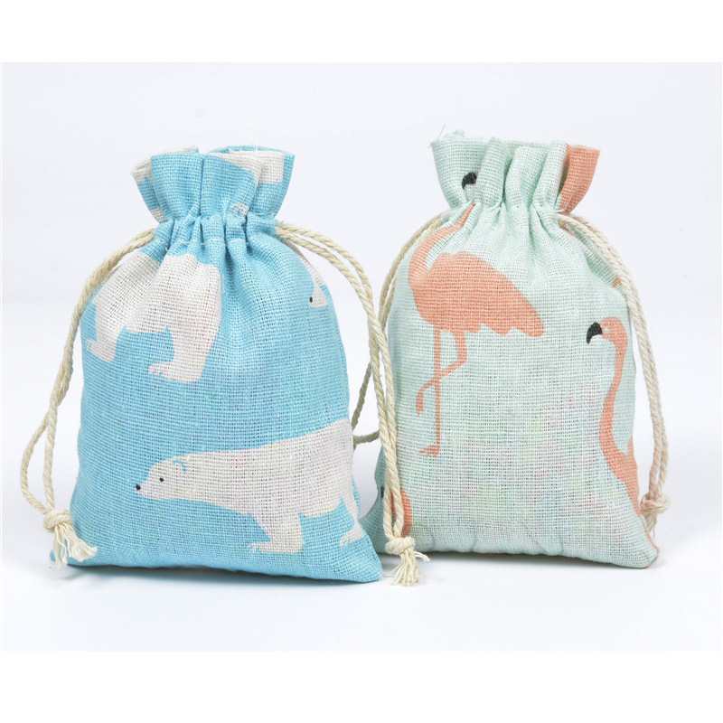10pcs Random Printed Cotton Cloth Bag Pocket Cartoon Small Fresh Rope Gift Bag Cotton Bags