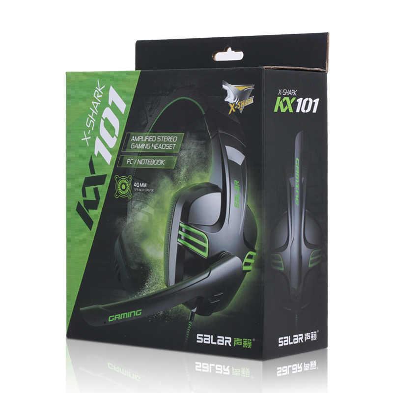 Salar KX101 juego de auriculares con cable profunda Bass auriculares de diadema de sonido estéreo con micrófono para PC Gamer