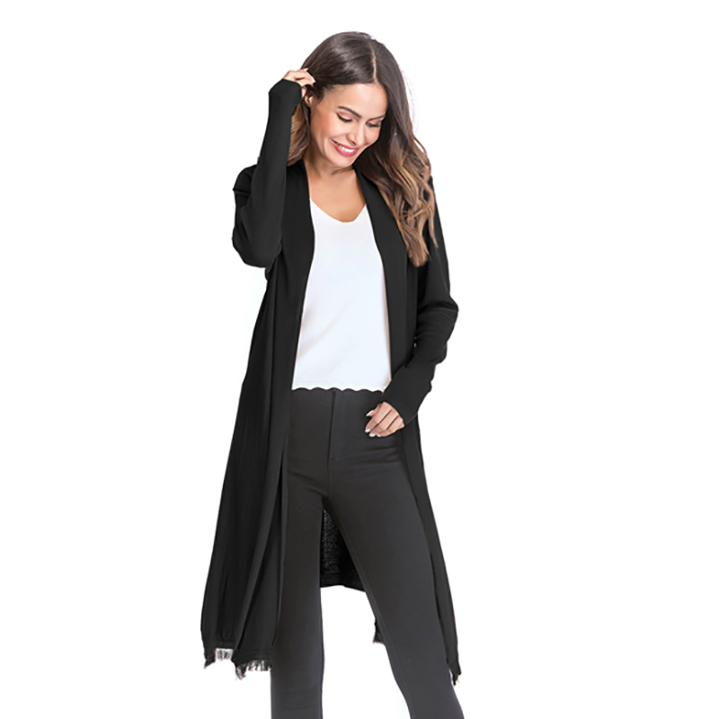 Kostlich 2018 Women Solid Color Tassel Long Knitted Cardigans Casual Open Stitch V Neck Full Sleeves Cardigans M-XL (13)