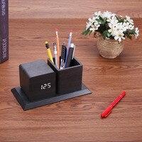 Sound Control Digital Electronic LED Alarm Clock Pencil Pen Holder Time Date Temp Display Desk Organizer Office Accessories Hot