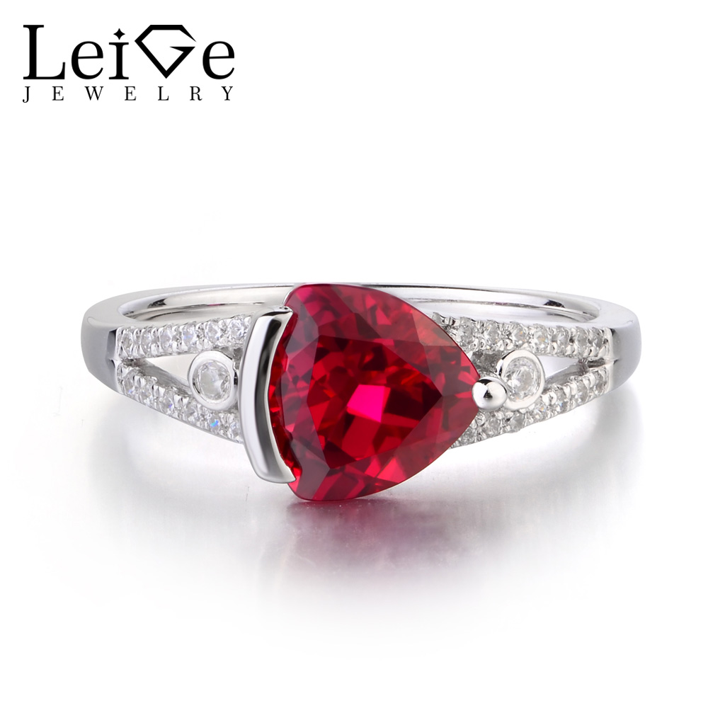 Leige Jewelry Lab Ruby Solid 925 Sterling Silver Ring Red Gemstone July Birthstone Trillion Cut Engagement Rings for Women