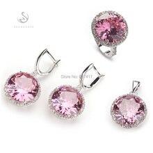 Trendy Pink kunzita ronda Cut Cubic Zirconia plateado Punk Bohemia conjunto corazón ( anillo / pendiente / colgante ) 145 Unidades sz #6 7 8 9 10