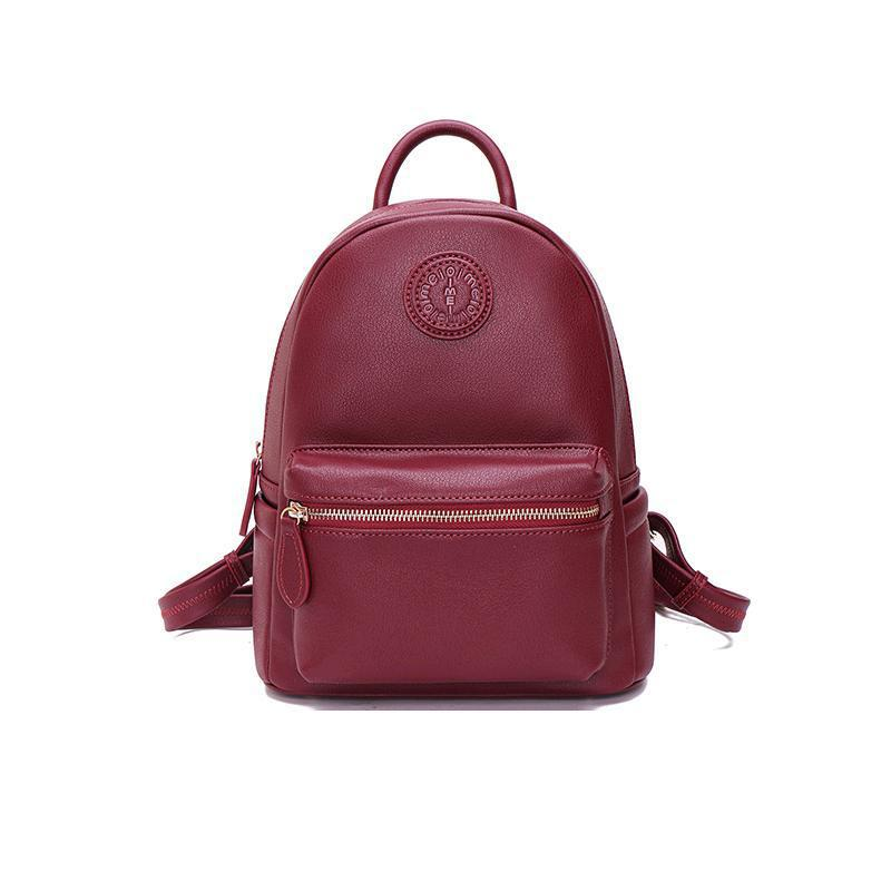 цена на Women Casual Leather Bag Genuine Girl Backpack Bagpack For Teen Small School Bags Female School Shoulder Bags For Back Pack