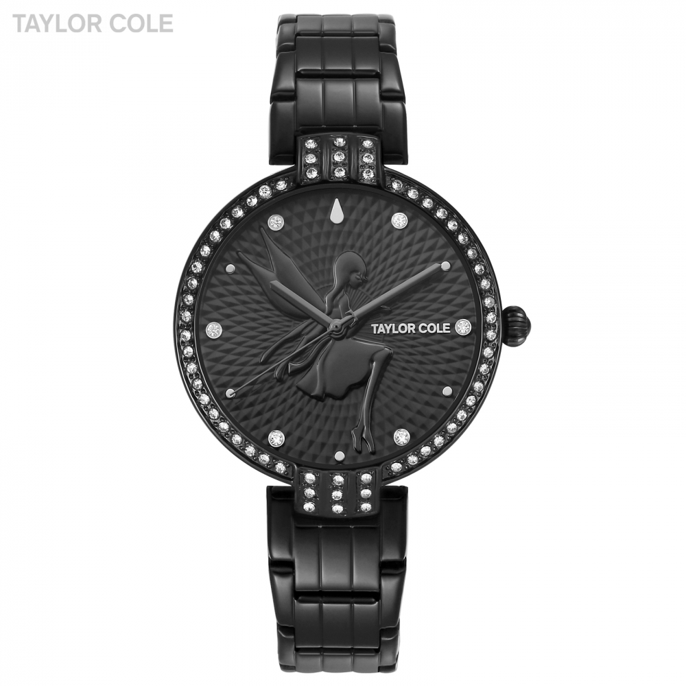 Taylor Cole Kadin Saat Luxury Round Full Black Crystal Case Lady Slim Quartz Steel Band Bracelet Clock Watch Gift Box / TC092 taylor cole relogio tc013