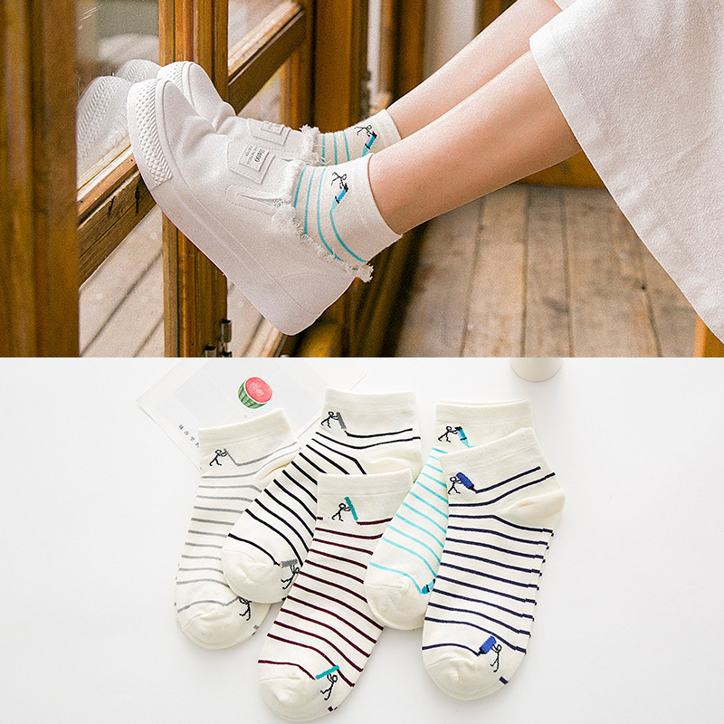 5pairs /lot harajuku Socks for women College style Cute striped compression socks cheap stuff funny Ankle socks for girl WS032
