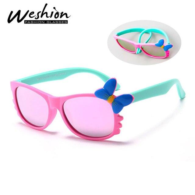 c59ebe5779 Niñas niños gafas polarizadas niños gafas espejo chica mariposa Flexible  gafas UV400 Oculos con el caso
