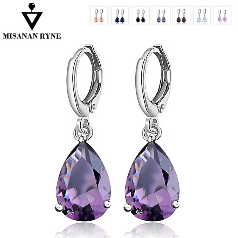 MISANANRYNE Waterdrop CZ Zircon Jewelry Long Silver-Color Dangle Earrings Brincos Pendiente For Women Gifts boucle d'oreille