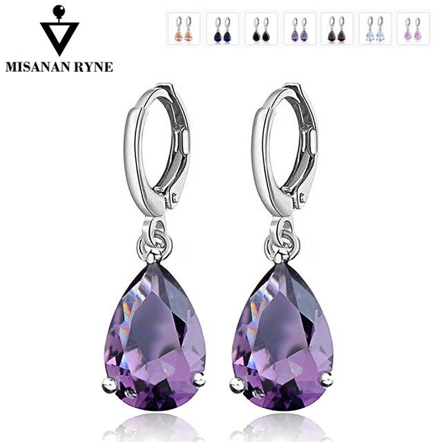 MISANANRYNE Waterdrop CZ Zircon Jewelry Long Silver-Color Dangle Earrings Brinco
