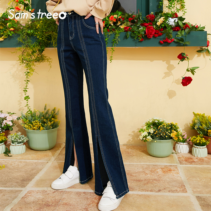 Samstree High Waist Vintage Women Jeans,2019 Autumn Streetwear Fashion Denim Female Flare Pants New Office Lady Bottoms