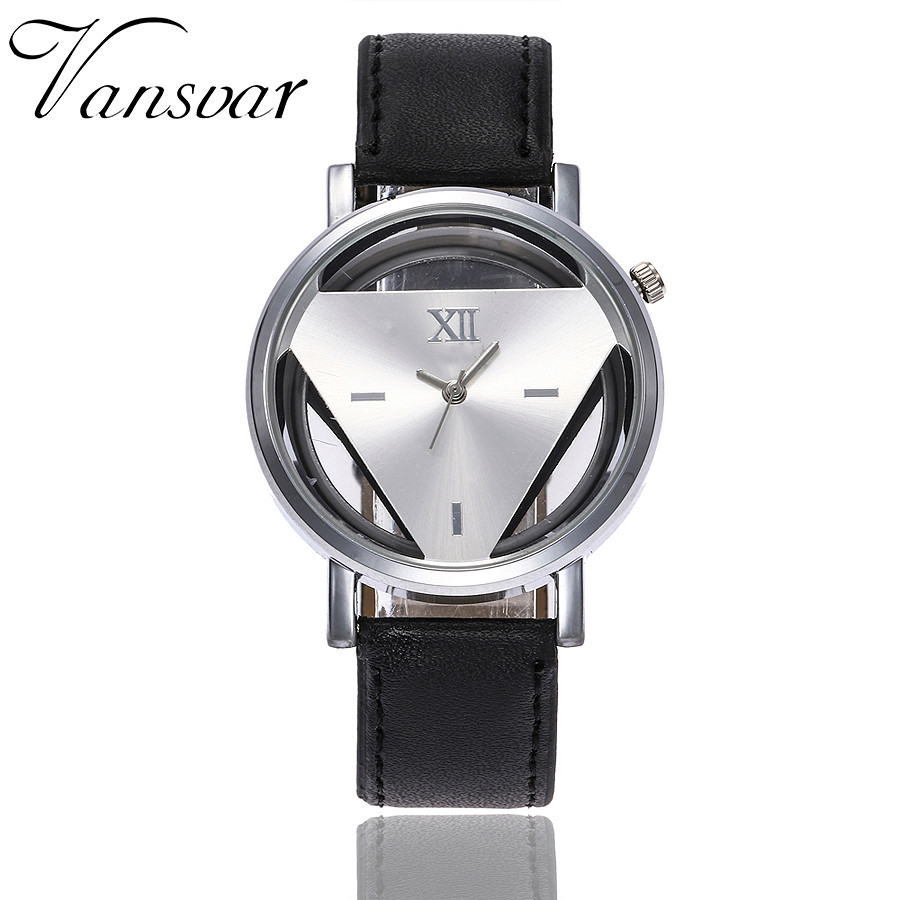 Vansvar New Arrival Fashion Women Silver Triangle Watch Casual Transparent Hollow Leather Quartz Watches Relogio Feminino 933