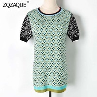 Harajuku Summer New T shirts Women's Fashion Plaid Pattern Contrast Color Knitting Tops O neck Short Sleeve KNIT Jumpers YJ38