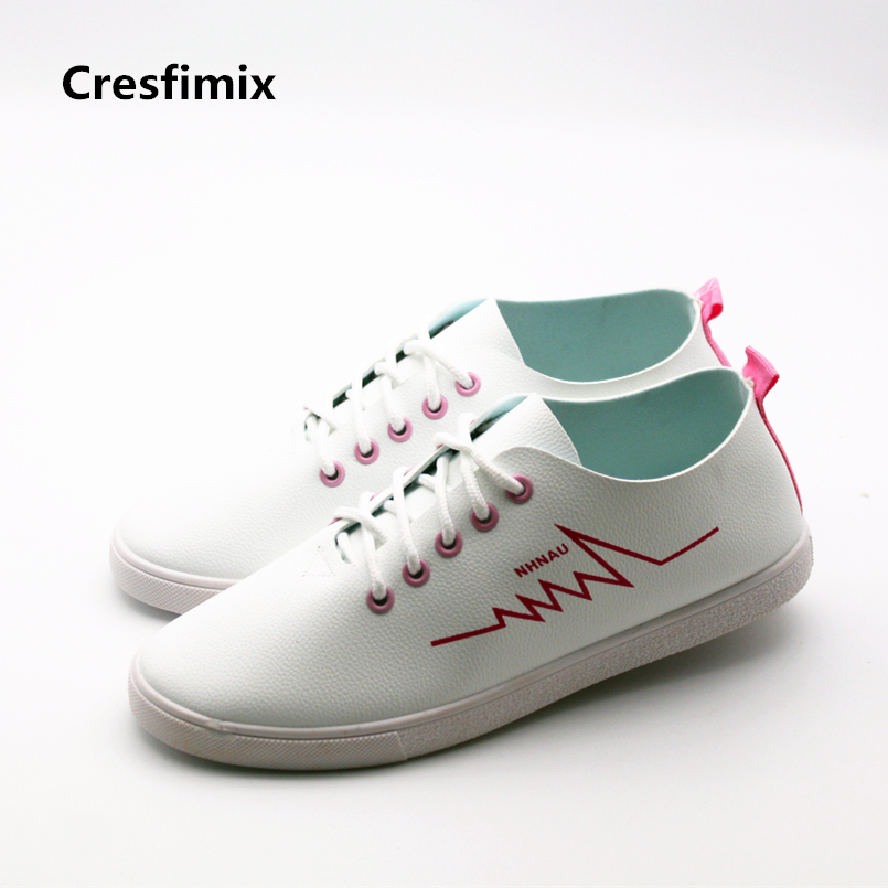 Cresfimix zapatos de mujer women casual spring lace up flat shoes female comfortable white lace up shoes teenager leisure shoes klywoo new white fasion shoes men casual shoes spring men driving shoes leather breathable comfortable lace up zapatos hombre