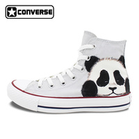 Panda Converse All Star Sneakers Painted Shoes Custom Grey Canvas Sneakers Animal Canvas Painting Sneakers
