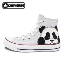 Converse All Star Men Women Sneakers Panda Original Design Hand Painted Canvas Shoes Boys Girls Custom