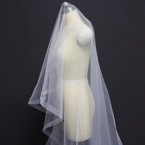 Image 4 - Long Horsehair Edge 3 Meters Wedding Veil WITHOUT Comb One Layer Cover Face Bridal Veil Velo de Novia