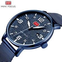 Мужские спортивные кварцевые часы с мини-фокусом, новинка, сетчатый ремешок, большие цифры, водонепроницаемые военные наручные часы, мужские часы, 0158G, синие