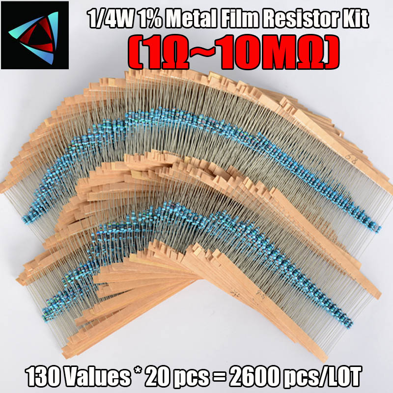 2600pcs 130 Values 1/4w 0.25w 1% Metal Film Resistors Assorted Pack Kit Set Lot Resistors Assortment Kits Fixed Capacitors