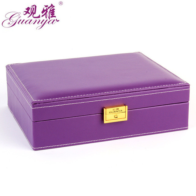 Guanya PU Leather Jewelry Box Organizer Case Rings Necklaces Holder