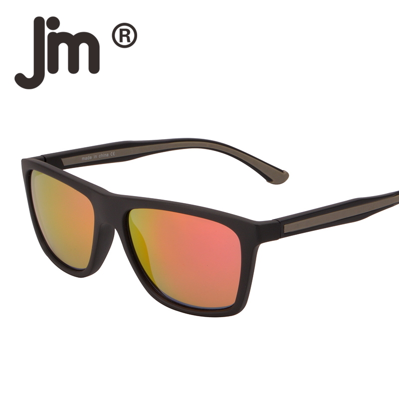 JM Retro Vintage Rubber Coating Frame Sunglasses Square Flash Red Mirrored Sun Glasses UV400 Men Women Eyewear