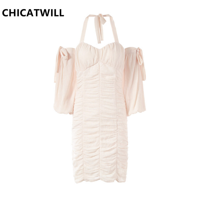 CHICATWILL 2019 Summer New Holiday Party Sweet Sexy Backless Halter Bow Ladies Lace Dresses