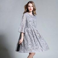 2017 European Design Spring Autumn Women Floral Lace Dresses Plus Size 4XL Hollow Lace Women Pleated