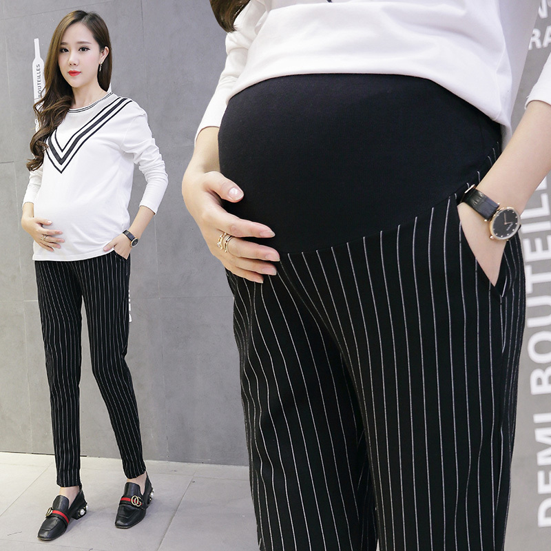 006# 9/10 Vertical Stripes Cotton Belly Maternity Pants Elastic Waist Pencil Trousers Clothes for Pregnant Women Pregnancy Pants ...