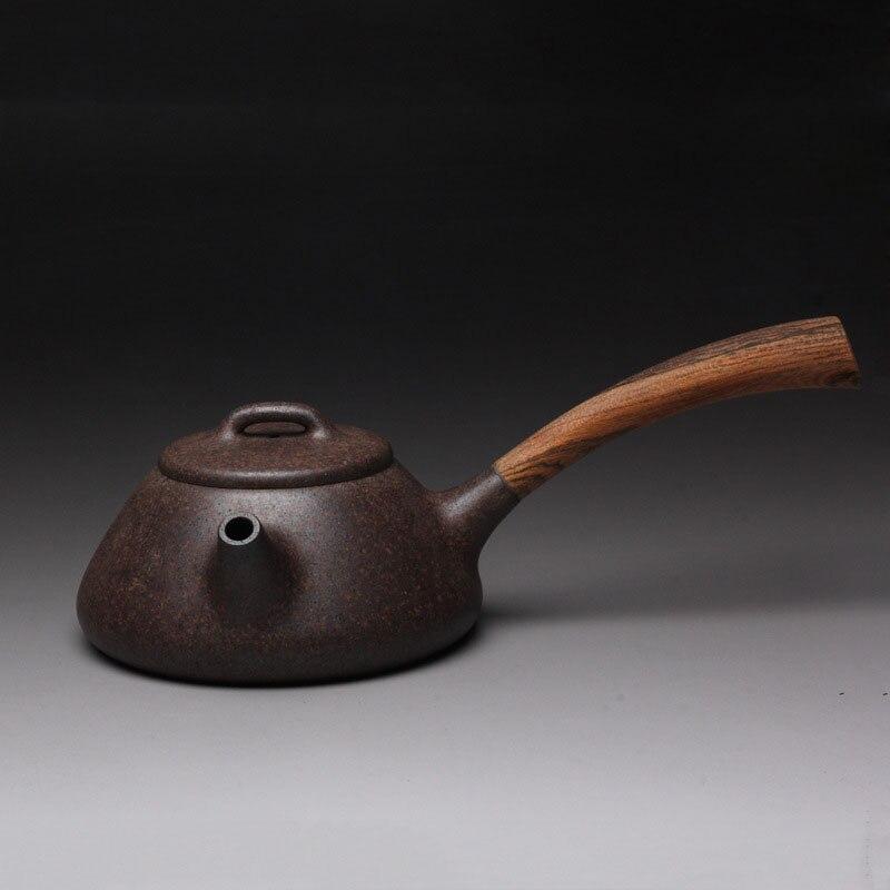 260cc authentique pourpre argile chef d'oeuvre Handmake théière santé Kung Fu thé ensemble Yixing thé bouilloire côté bois poignée Shi Piao Pot