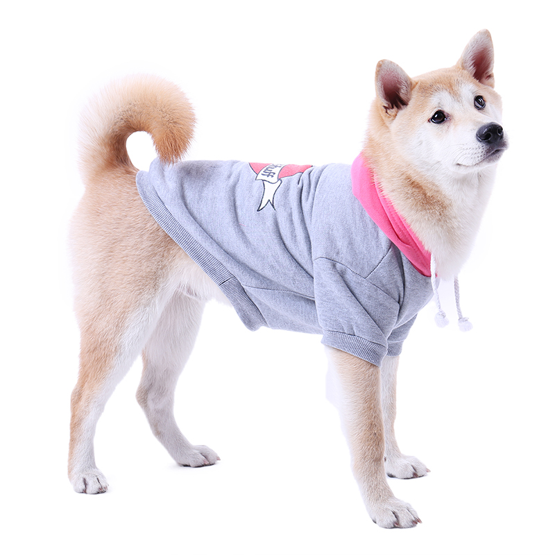Newly Design Winter Warm Dog Clothes Coat Sweatshirts Gray Pink Cotton Blend Pets Large Dogs Cat Hoodies Small Puppy Apparel