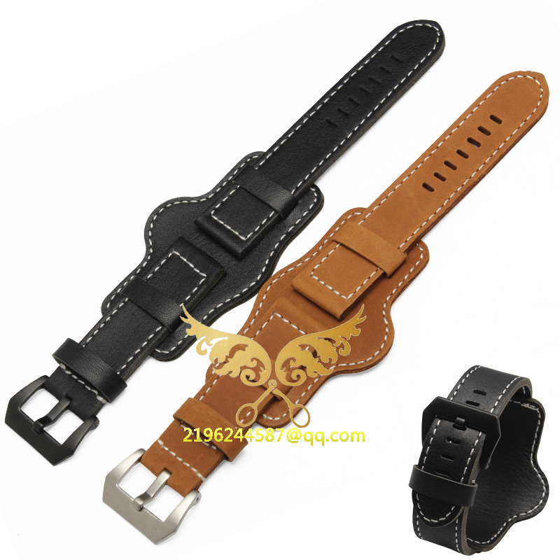 Hand made high Quality Fine Leather Watch Strap &Band for P watch 22mm 24mm with stainless steel buckle free shipping