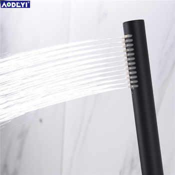 Brass Round Handheld Shower Head Black Matte Finish Shower Connector Adjustable Wall Holder Handheld Water-saving Bath Shower