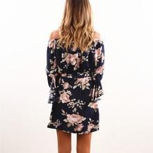 Sexy Boho Off Shoulder Mini Floral Dress