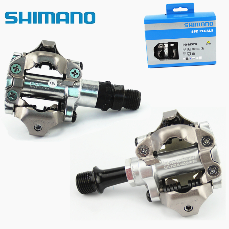 SHIMANO PD-M520 MTB Mountain Bike Clipless Pedals With SPD Cleats shimano pd m545 spd bicycle cycling pedal mtb mountain xc clipless bike incl sm sh51 cleats mountain bike pedals