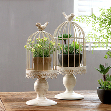 Valentines Day romantic decoration to do the old wrought iron white European bird cage candle holder home decor craft ornaments