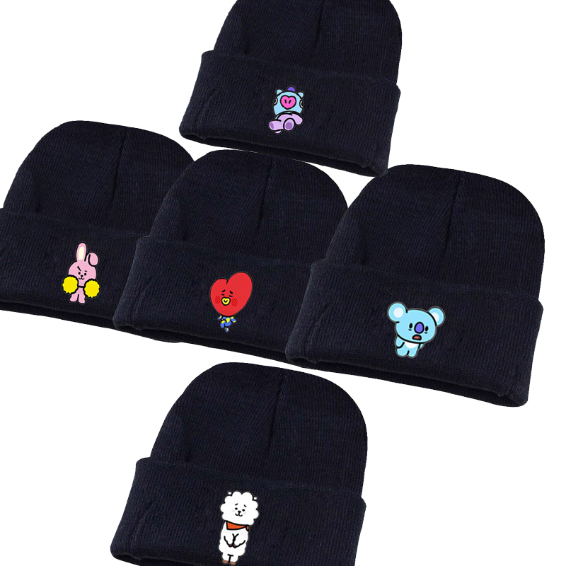 BT21 TATA Cooky Hats Casual Knitted Hat Bangtan Boys Embroidery for Women Men Hip-Hop   Skullies     Beanie   Cap