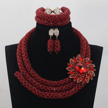Nigerian Wine Red Beads Jewelry Sets 2.5 layers Wedding Costume African Crystal Bridal Necklace Bracelet Earrings Jewelry ANJ132